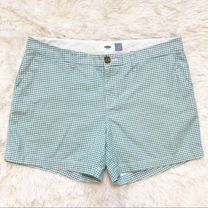 Old Navy Everyday Cotton Shorts Green Gingham 8